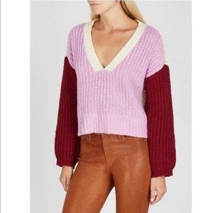 Wildfox NWT Color Me Beverly Color Block Knit V-Neck Sweater